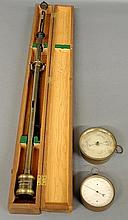 Cased gimbaled nautical stick barometer by Henry J. Green, N.Y. (as found, case 39