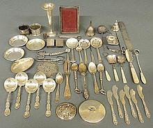 Group of mostly sterling silver tableware and accessories.