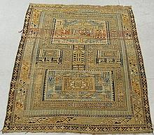 Dagestan oriental mat with geometric patterns. 4'1
