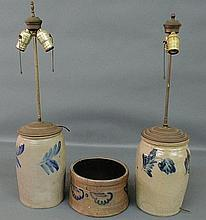 Two similar stoneware jars with blue decoration converted to table lamps (one drilled) 11