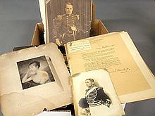 Large box lot of vintage photographs from the Cadwalader, Bancker and Rowland Families incl. a 1931 Pennsylvania Society Sons of the Revolution certificate of John Cadwalader Rowland, photograph of what is now the Baldwin School and a First Troop