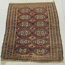 Turcoman oriental mat with overall geometric patterns. 3'10