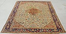 Room size Mashhad oriental carpet, c.1900, with a beige field and red center medallion. 12'7