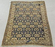 Dagestan oriental mat with overall geometric patterns. 3'9