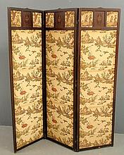 Three-part mahogany screen, 19th c., the panel tops with inlaid urns and fabric panels printed with donkeys and figures. Each panel 67.25