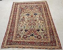 Tabriz oriental directional garden carpet with trees and birds. 6'6