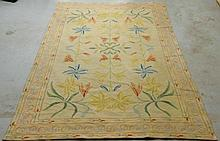 Wool garden carpet with lily design. 5'10