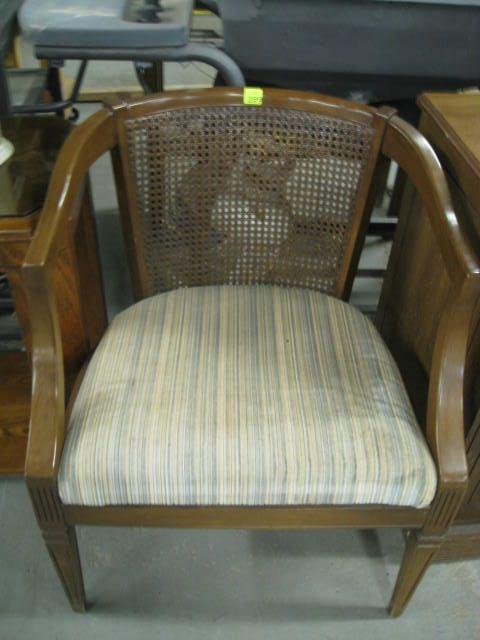 Cane Back Barrel Chair with Upholstered Seat
