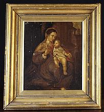 An Early 19th Century Oil on Canvas: The Virgin & Child, 16 ins x 13 ins (41 cms x 33 cms) in a bead