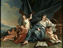 Provincial French School, circa 1730. A Set of Four 18th Century Oils on Canvas; Allegorical Scenes