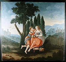 Italian School.  A Similar Pair of 18th Century Style unframed Oils on Canvas: Romantic scenes depic