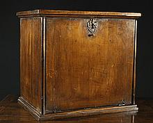 A William & Mary/Queen Anne Yew veneered Table Cabinet.  The drop-down front with small brass peg ha