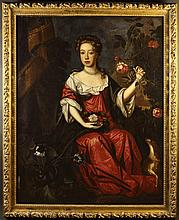 Provincial School. A Late 17th Century Full Length Portrait of Seated Lady wearing a flowing red rob