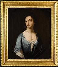 Circle of Michael Dahl. An 18th Century Oil on Canvas: Head & Shoulder Portrait of a Lady wearing bl