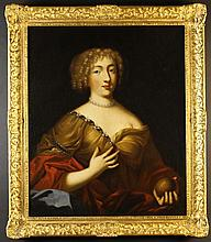 French School.  An Oil on Canvas, Circa 1700: Half Length Portrait of a Lady holding an apple in one