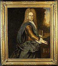 English School.  A Large Late 17th/Early 18th Century Oil on Canvas: Three Quarter Length Portrait o