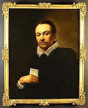 An 18th Century Oil on Canvas: Half Length Portrait of a Man wearing a black jacket and lace trimmed