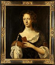 Anglo-Dutch School. A Late 17th Century Oil on Canvas: Half length Portrait of a Lady holding a book