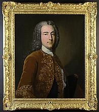 Circle of Joseph Highmore (1692-1780). An 18th Century Oil on Canvas: Half length Portrait of a Gent