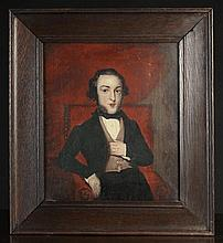 A 19th Century Oil on Canvas (A/F): Half length portrait of a seated gentleman, 14 ins x 12 ins (36