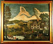 A Primitive 18th Century Oil on Canvas laid onto plywood, possibly American; naively executed and de