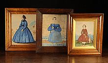 Three Victorian Style Watercolour Paintings: Full length Portraits: a woman in blue dress with paper