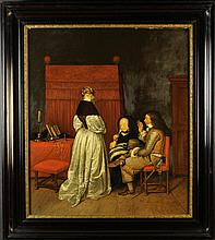 An Oil on Panel: 17th Century Dutch Style Interior Scene depicting  a lady dressed in a fine oyster