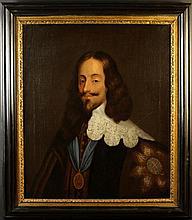 Provincial Follower of Van Dyke. An Oil on Canvas, Circa 1700. Head & Shoulders Portrait of Charles