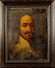 Follower of Van Dyke. An Oil on Canvas Portrait of Charles I laid onto plywood panel, 18 ins x 14 in