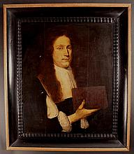 A 17th Century Oil on Panel: Head & Shoulders Portrait of a Gentleman holding a book. Paper label on