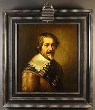Style of Michiel Jansz Van Miervelt. A Oil on Oak Panel: Head & Shoulders Portrait of a Nobleman, 25