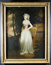 Alexandar Nasmyth (1758-1840) Attributed.  An Oil on Canvas: Full length portrait of 'Mrs Scott of D