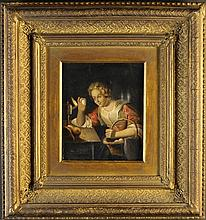 A Small Oil on Canvas; Dutch Genre painting of lady 'Candling Eggs' 8 ins x 6¾ ins (20 cms x 17 cms)