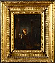 A 19th Century Oil on panel: Interior scene with a man sat at table by a leaded glass screen smoking