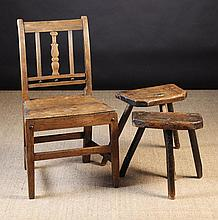 Two 19th Century Cutler's Stools (A/F) and a 19th Century East Anglian Elm & Mahogany Chair with a c