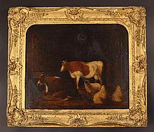 A 19th Century Oil on Canvas: Barn Interior with Cattle and Sheep inscribed on verso 'John Constable