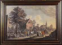 After Teniers. A Pair of Finely Executed Watercolour Paintings of Village Festivals, inscribed and s
