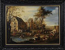 An 18th Century Oil on Canvas: Landscape with buildings and figures going about everyday life, 19½ i