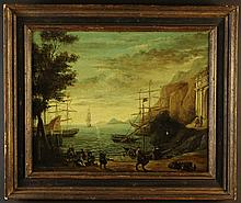 An 18th Century Oil on Canvas: Boats in a cove with figures unloading in foreground, 16 ins x 20 ins