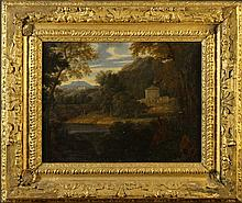 Circle of Jean-François Millet (1642-1679) An Oil on Canvas: Landscape with figures by lake, 15 ins
