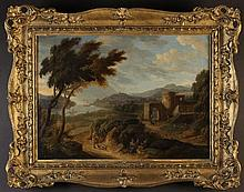 Manner of Hendrik van Lint (1684-1763). An Oil on Canvas: Landscape with harbour on distance, ruined