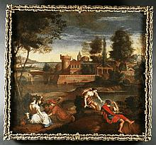Circle of Giovanni Francesco Grimaldi.  An Early 18th Century  Oil on Canvas depicting a classical l