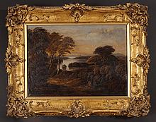An Early 19th Century Oil on Canvas: Landscape Painting with lake in distance and two figures in the