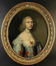 Follower of Cornelis Johnson. A 17th Century Oval Oil on Panel: Head & Shoulders Portrait of Lady we
