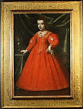 Spanish School. A 17th Century Oil on Canvas: Full Length Portrait of a Young Girl wearing a  red dr