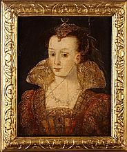 A 16th Century French Oil on Panel: Head & Shoulders Portrait of a Noblewoman dressed in finery, 10