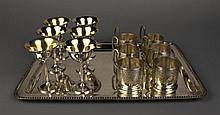 A Continental Silver Tray, Six Silver Gilt Cups