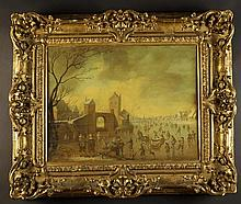 An Oil on Panel: 17th Century Style Dutch Winter