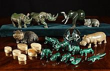 A Collection of Carved Malachite Animals, five