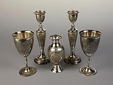 Five Pieces of Persian Silver with intricately